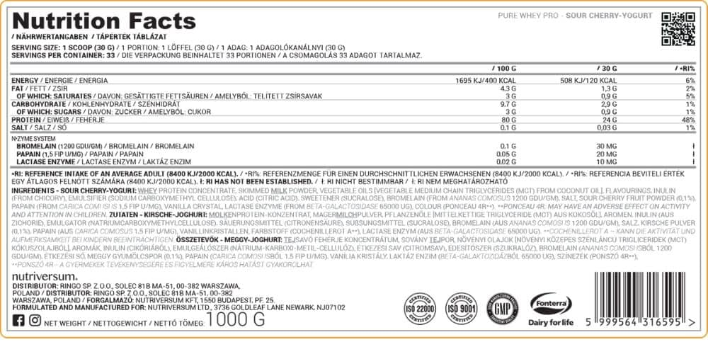 Nutriversum - PURE - Whey PRO - 30 g tápanyagtábl.