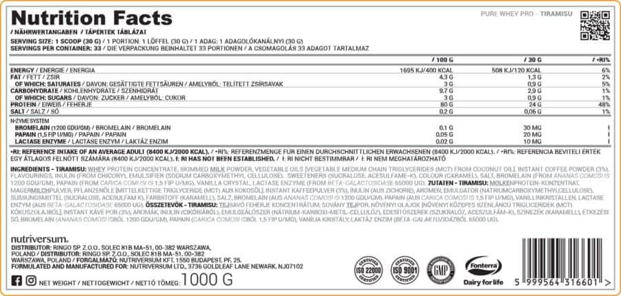 Nutriversum - PURE Whey PRO - 1 000 g nutriversum fehérje összetétel