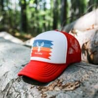 FOAM TRUCKER STRIPED RED WITH COLORFUL LOGO