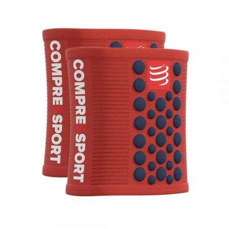compressport-sweatband-3d-dot-csuklópánt piros